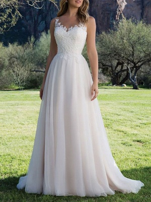 Wedding Dresses A Line V Neck Sleeveless Lace Beach Party Bridal Gowns With Train_1