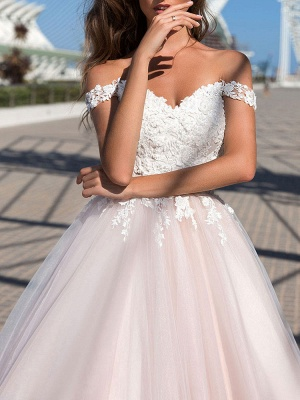 Wedding Dresses Princess Silhouette Court Train Off The Shoulder Sleeveless Natural Waist Lace Tulle Bridal Gowns_3