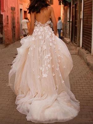Wedding Dresses 2021 A Line Sleeveless Floor Length Beaded Sweetheart Neck Bridal Gowns_2