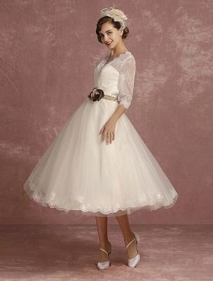 Vintage Wedding Dress Short Lace Tulle Bridal Dress Half Sleeve V Neck Backless A Line Flower Sash Tea Length Bridal Gown Exclusive_6