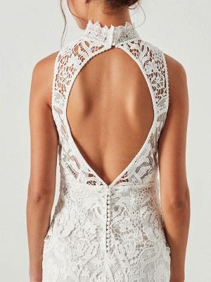 Boho Wedding Gowns 2021 Sheath High Neck Sleeveless Floor Length Bridal Gown_9