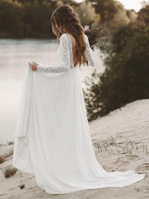 Cheap Wedding Dresses A Line V Neck Long Sleeve Floor Length Chiffon Lace Beach Wedding Dresses_3