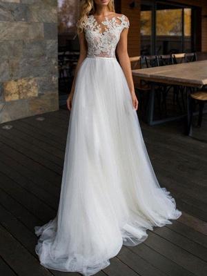 Wedding Dresses 2021 Illusion Neck Short Sleeve Floor Length Lace Soft Tulle Beach Bridal Gowns For Boho Wedding_1