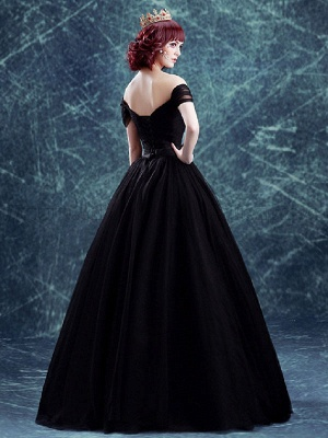 Gothic Wedding Gownses Tulle Princess Silhouette Short Sleeves Natural Waist Pleated Floor-Length Bridal Gown_2
