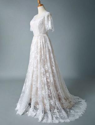 Cheap Wedding Dress 2021 V Neck A Line Short Sleeve Deep V Backless Lace Wedding Gowns_5