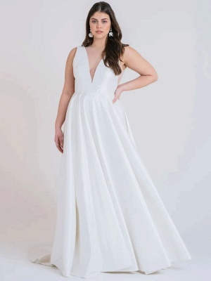White Cheap Wedding Dress A-Line With Train V-Neck Sleeveless Pockets Satin Fabric Wedding Gowns_2