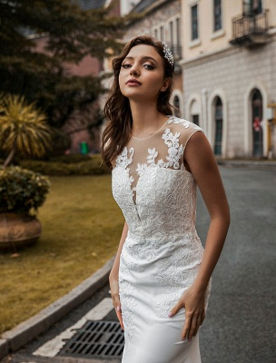 Wedding Bridal Gowns Jewel Neck Sleeveless Natural Waist Buttons Court Train Bridal Gowns Exclusive_3