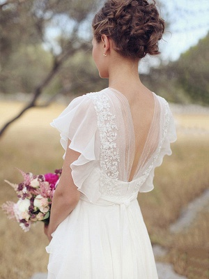 Cheap Wedding Dress A Line Designed Neckline Sleeveless Applique Chiffon Wedding Gowns_3