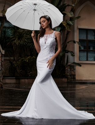 Customize Wedding Gowns With Train Sleeveless Beaded Square Neck Bridal Gowns_3