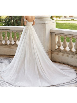 Wedding Dresses With Train V Neck Sleeveless Off Shoulder Lace Tulle Bridal Gowns_5