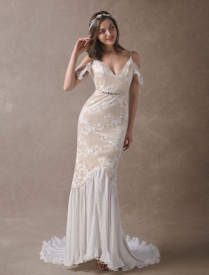 Boho Bridal Dresses Champagne Lace Beach Bridal Dress Mermaid V Neck Backless Beaded Summer Wedding Gowns Exclusive_3
