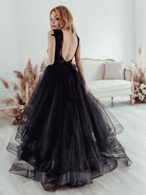 Black Bridal Dress A-Line Illusion Neckline Sleeveless Backless Applique Floor-Length Lace Tulle Bridal Gowns_5