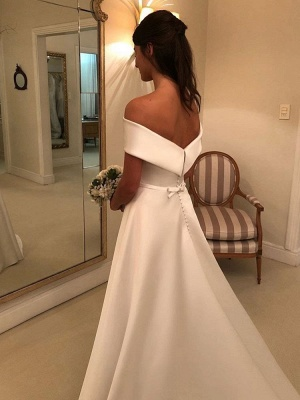 Vintage Wedding Dresses 2021 Off The Shoulder Short Sleeve A Line Satin Traditional Bridal Gowns With Sweep Train_2