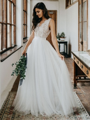 Cheap Wedding Dresses Tulle A Line V Neck Sleeveless Lace Floor Length Bridal Gowns_3