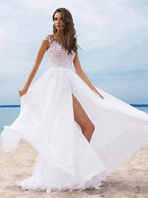 Boho Wedding Dresses 2021 Chiffon V Neck Short Sleeves A Line Split Front Bridal Gowns For Beach Wedding_3