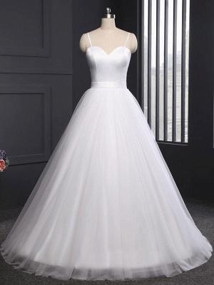 Vintage Wedding Dress Tulle Sweetheart Neck Sleeveless Sash A Line Bridal Gowns_4