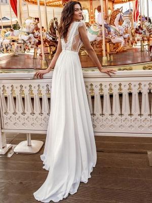 White Cheap Wedding Dresses A-Line Court Train V-Neck Natural Waistline Sleeveless Chiffon Lace Bridal Gowns_3