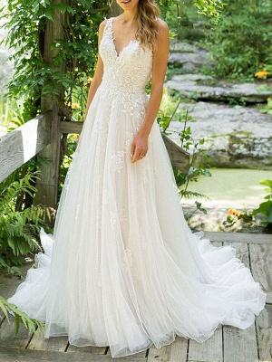 Cheap Wedding Dresses 2021 A Line V Neck Sleeveless Floor Length Beach Bridal Gowns With Train_1