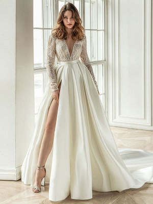 Cheap Wedding Dress With Train A Line V Neck Long Sleeves Lace Bridal Dresses_1