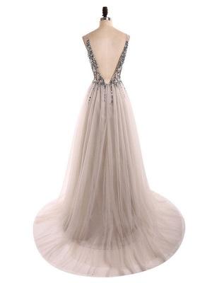 Boho Wedding Dress 2021 A Line Deep V Neck Sleeveless Straps Split Front Floor Length Prom Dresses_4