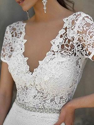 Cheap Wedding Dress Mermaid Lace V Neck Short Sleeves Beaded Sash Bridal Dresses With Train_3