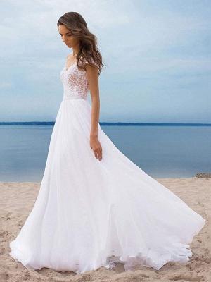 Boho Wedding Dresses 2021 Chiffon V Neck Short Sleeves A Line Split Front Bridal Gowns For Beach Wedding_5