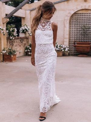 Boho Wedding Gowns 2021 Sheath High Neck Sleeveless Floor Length Bridal Gown_1