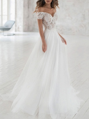 Cheap Wedding Dresses Tulle Off The Shoulder Short Sleeves Lace A Line Bridal Gowns