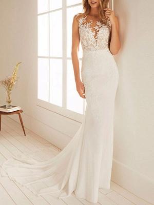 Cheap Wedding Dresses Mermaid Chiffon Jewel Neck Sleeveless Floor Length Beach Bridal Gown With Court Train_1
