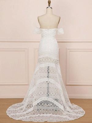 White Lace Wedding Gowns Floor Length Sheath Sleeveless Lace Sweetheart Neck Wedding Dresseses Train Dress_4