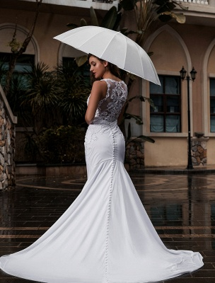 Customize Wedding Gowns With Train Sleeveless Beaded Square Neck Bridal Gowns_4