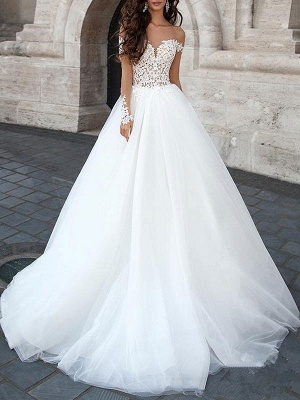 Princess Wedding Dresses 2021 Ball Gown Sweetheart Neck Long Sleeves Backless Lace Tulle Bridal Gowns With Court Train_1