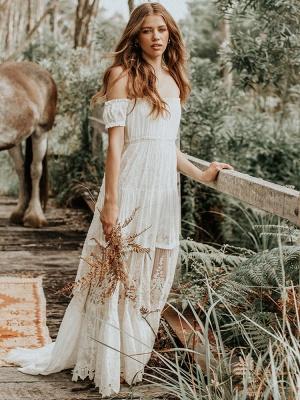 Boho Wedding Dress 2021 Lace Off The Shoulder A Line Floor Length Lace Bridal Gown_2
