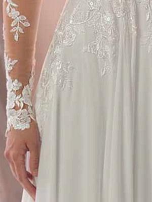 Lace Wedding Dresses 2021 Chiffon V Neck A Line Long Sleeve Lace Applique Beach Wedding Bridal Dress With Train Free Customization_7