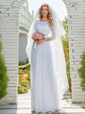White Simple Wedding Gowns Lace Jewel Neck Lace Chiffon Half Sleeves Natural Waist A-Line Bridal Gowns_2