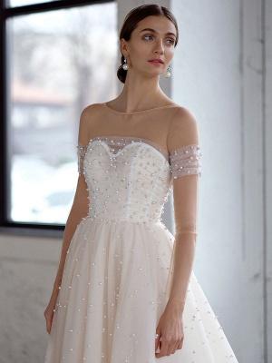 White Wedding Dress A-Line Wedding Gowns Beaded Tulle Wedding Dress_3