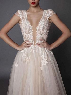 Boho Wedding Dresses Ivory V Neck Short Sleeve Applique Slit Bridal Dress_3