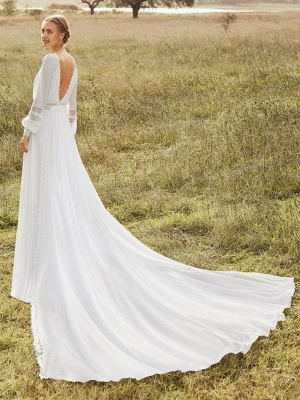 Ivory Simple Wedding Gowns With Train Chiffon Jewel Neck Long Sleeves Lace A Line Bridal Gowns_2