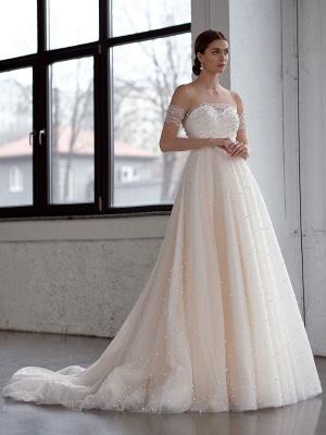 White Wedding Dress A-Line Wedding Gowns Beaded Tulle Wedding Dress_1