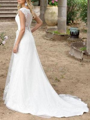 Cheap Wedding Dresses A Line V Neck Sleeveless Sash Floor Length Bridal Gowns With Train_2