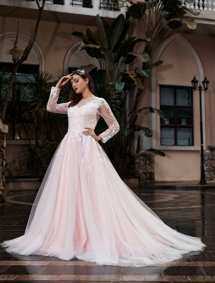 Customize Wedding Gowns With Train A-Line Long Sleeves Satin Fabric Jewel Neck Bridal Gowns_2