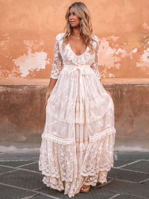 Boho Wedding Dresses Suit 2021 V Neck Floor Length Lace Multilayer Bridal Gown Dress And Outfit_1