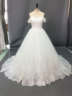 Wedding Dresses 2021 Off The Shoulder Ball Gown Short Sleeve Natural Waist Bridal Gowns With Train_2