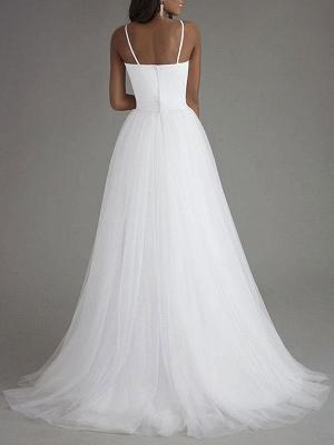 Vintage Wedding Dress Tulle Sweetheart Neck Sleeveless Sash A Line Bridal Gowns_3