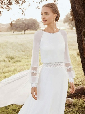 Ivory Simple Wedding Gowns With Train Chiffon Jewel Neck Long Sleeves Lace A Line Bridal Gowns_3