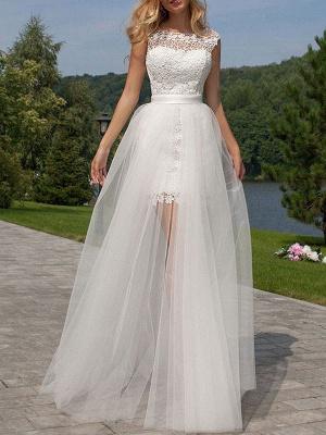 Short Wedding Dress 2021 Lace Jewel Neck Sleeveless Wedding Gowns With Panel Train_2