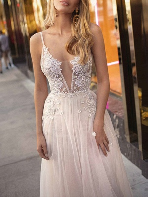 Boho Wedding Gowns 2021 A Line V Neck Straps Sleeveless Tulle Beach Bridal Gowns_3