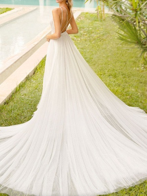 Simple Wedding Gowns With Train Mermaid Dress V Neck Sleeveless Lace Bridal Gowns_3