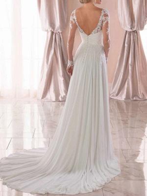 Lace Wedding Dresses 2021 Chiffon V Neck A Line Long Sleeve Lace Applique Beach Wedding Bridal Dress With Train Free Customization_4