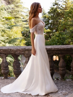 White Cheap Wedding Dresses Satin Fabric Strapless Sleeveless Cut Out A-Line Off The Shoulder Long Bridal Gowns_4